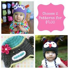 Any 2 Patterns, Sock Monkey Pattern, Owl Hat Pattern, Crochet Patterns