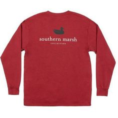Collegiate Authentic Long Sleeve Tee in Maroon with Black Duck by Southern Marsh