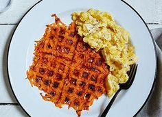 Sweet Potato Hashbrowns Made With a Waffle-Iron - PureWow