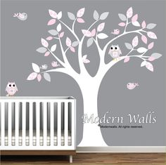 Wall Decal with Tree Owls BirdsNursery Decals Vinyl by Modernwalls, $99.00