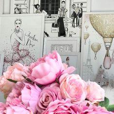 Megan Hess Illustration, Gallery Wall, Girly, Studio, Rose, Flowers, Fashion Illustrations, Painting, Inspiration