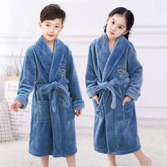 Toddler Bathrobe Age 5-11t,Pajama Bath Towel Solid Color Bear Pockets Hood for Toddler Baby Boys Girls Soft Terry Cotton