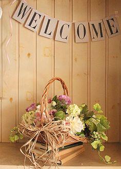 ★再入荷★ BB-W-39 花バスケット パニエ・デ・フルール/ナチュラル ~ panier de fleur ~   招待状、プチギフト、ウェルカムボードの通販・販売 ブライダルボックス オンラインショップ