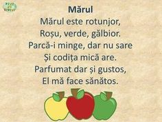 Mărul- poezie Teaching Activities, Autumn Activities, Preschool Activities, Projects For Kids, Crafts For Kids, Preschool Fine Motor Skills, Experiment, Kids Poems, Math Journals