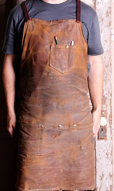 Small Brown Canvas and Leather Work Apron by ANDcollaborative