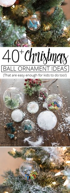 Christmas Ball Ornament Ideas For You to Try This Year! - - Create memories making your own ornaments with over 40 easy to make Christmas Ball Ornament Ideas! Free printable, easy to find supplies. Christmas Ornaments To Make, Noel Christmas, Christmas Decorations, Holiday Decorating, Decorating Ideas, Christmas Tree With Feathers, Glass Christmas Balls, Amazon Christmas, Aisle Decorations