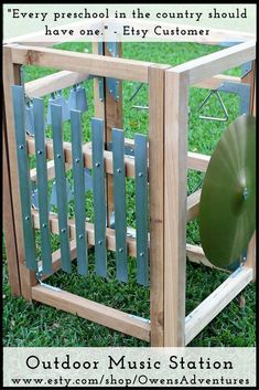 This outdoor music station is great for the playground or your backyard. It comes with xylophones, triangles, cowbells, and a cymbal. Let this music station / sensory wall be a part of your natural learning environment!