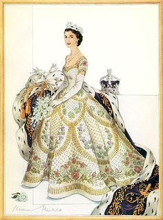 The Queens coronation dress was commissioned in October 1952 and took eight months to create. Embroidered with leeks of Wales, shamrocks of Ireland, thistles of Scotland, roses of England, ferns of New Zealand, golden wattle of Australia, protea of South Africa, and lotus of India.