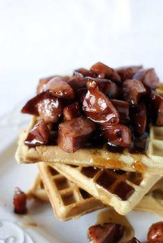 Waffles w/ Kielbasa in Syrup. Cheddar Waffle House Waffles with Kielbasa in Maple Syrup Sushi Sandwich, Waffle Sandwich, Savory Waffles, Pancakes And Waffles, Brunch Recipes, Breakfast Recipes, Breakfast Menu, Waffle Maker Recipes, Nutella French Toast