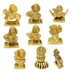Navgraha Idol Set In Thick Brass Nine Planets Energized Sculpture