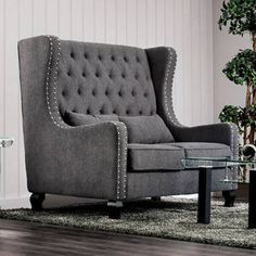 Furniture of America Lystelle Romantic Wingback Button Tufted Linen Loveseat - Free Shipping Today - Overstock.com - 19745211