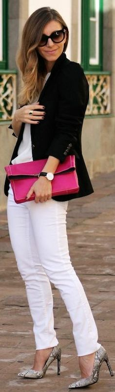 Love the white with black and pink accents- White On White
