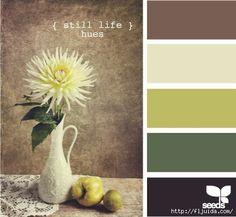 Still life hues Color palette by design seeds Colour Pallette, Color Palate, Color Combos, Kitchen Colour Schemes, Kitchen Colors, Kitchen Design, Kitchen Ideas, Kitchen Rustic, Kitchen Paint