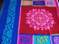Fair Isle blanket. Knitted.