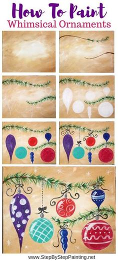 How To Paint Whimsical Ornaments – Step By Step Painting - Lombn Sites Christmas Paintings On Canvas, Christmas Canvas, Arts And Crafts, Diy Crafts, Paint And Sip, Theme Noel, Step By Step Painting, Diy Canvas, Acrylic Canvas