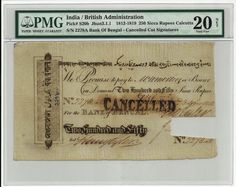 This is the banknote issued by Bank of Bengal in 1813 in India. This banknote is regarded as one of the highest grade certified by PMG (The censor agency of the grades of the banknotes) of this type. This banknote has denomination 250 Sicca Rupees. It is regarded as the highest grade available for earliest banknote of India. Signed by Henry Tyler. Sold by Priceless Collectables LLP for INR 875,000. This banknote is less than 10 in existence. Now, thats called a high end collectable!