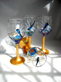 Blue Dragonfly Cordials Hand Painted Glassware by SkySpiritStudios