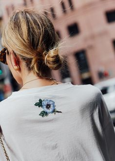 Embroidered flower on gucci logo t-shirt. Shop Carmen Hamilton's look here.