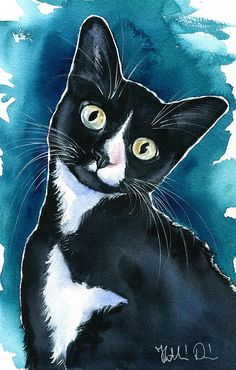 Painting - Scarlet Tuxedo Kitten Painting by Dora Hathazi Mendes , Watercolor Cat, Watercolor Animals, Baby Cats, Cats And Kittens, Ragdoll Cats, Kitten Tattoo, Tuxedo Kitten, Kitten Drawing, Cat Background