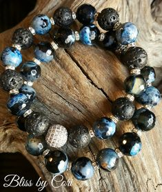 Faceted Blue Agate & Lava Rock Beaded Stretch Bracelet Duo with Sterling Silver Micro Pave Bead *FREE SHIPPING* by BlissbyCori on Etsy