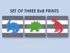 Set of three dinosaur prints.