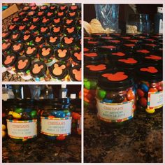 Mickey mouse birthday~  Collect baby food jars during your baby's first year, wash out, paint tops, print labels from shutterfly, fill with candy, and give as a party favor at the party!