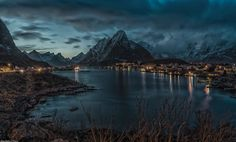 "alivetotellthetail: ""The Blue Hour"", Reine, Lofoten, Norway, by Hallgeir Nielsen. Lofoten, Blue Hour, The Villain, Travel Goals, Travel Couple, Adventure Travel, Norway, Beautiful Places, Scenery"