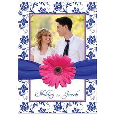 Hot pink gerber daisy, royal blue damask floral and ribbon photo wedding invitation