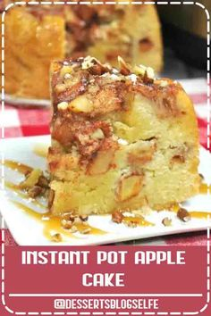4.9 ★★★★★ - This set-it-and-forget-it Instant Pot Apple Cake is not only super easy, but super delicious! Four layers of moist cake and juicy apples in every bite!Four layers of moist cake and juicy apples in every bite! Easy recipe to make apple cake in the Instant Pot - perfect fall dessert (or for anytime!) #DessertBlogSelfe #dessert #applecinnamon #apples #cake #IP #instantpot #Fall  #videos #easy #crockpot