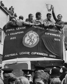 May From left to right, Chelsea footballers Marvin Hinton, Alan Hudson, Keith Weller and captain Ron Harris celebrate their victo. British Football, Chelsea Football, Real Madrid Manchester United, Chelsea Champions, Chelsea Fans, Stamford Bridge, Soccer Quotes, School Football, Girl Problems