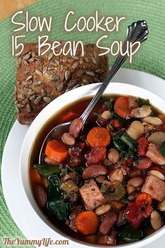 Slow Cooker 15 Bean Soup. Packed with hearty flavor, fiber, and nutrition. www.theyummylife.com/Slow_Cooker_15_Bean_Soup