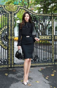Korean Women's Fashion Shopping Mall, Styleonme. N - korean fashion Korean Fashion Trends, Korean Street Fashion, Asian Fashion, All Black Fashion, Daily Fashion, Fashion Looks, Style Fashion, High Waisted Pencil Skirt, Office Fashion