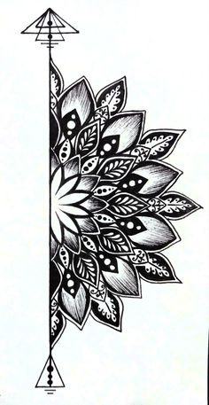 traditional mandala tattoo Best Picture For Tattoo Pattern floral For Your Taste You are looking for something, and it is going to tell you exactly what you are looking for, and you did Mandala Tattoo Design, Dotwork Tattoo Mandala, Tattoo Designs, Half Mandala Tattoo, Mandala Flower Tattoos, Doodle Art Drawing, Pencil Art Drawings, Art Drawings Sketches, Tattoo Drawings