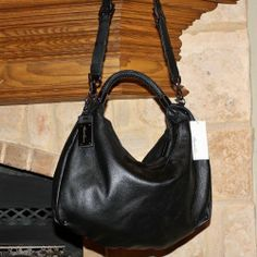 Authentic Kenneth Cole Black Leather Slouch Hobo Purse Handbag Nwt