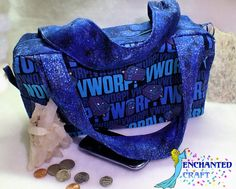 blue Whovain purse with the famous TARDIS and space fabric, Zippered Handbag by enchantedcraft, $50.00 USD
