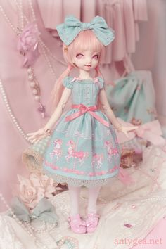 "antygea: ""My cutie Tomoko got a new dress. When I saw that fabric I knew I had to turn it into something very Angelic Pretty. It's not OTT enough though, I feel…  Tomoko is a Dollpamm Momo sculpt."""
