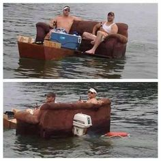 You might be a redneck if you turn your sofa into a boat!!!  Who said rednecks were stupid!!!