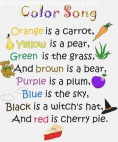 64 Ideas Music Crafts Preschool Circle Time For 2019 Preschool Poems, Kindergarten Songs, Preschool Colors, Kids Poems, Preschool Music, Teaching Colors, Preschool Learning, Preschool Activities, Group Activities