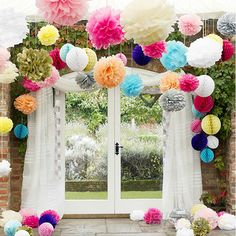 Colorful Tissue Paper Pom Flowers Balls Wedding Flower Birthday Party Decor BA2A