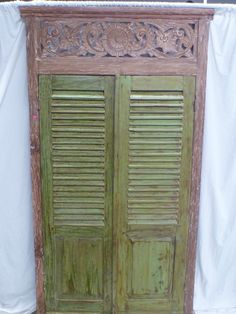 The colours // Balinese Original Timber Hand Carved Antique Louvre Shutters in Recycled Frame