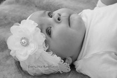 Baby Headbands White Feather Christening by OurLittleBowtique1