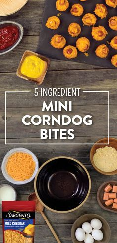 Hut, Hut, CHILI CHEESE CORNDOG BITES! Yup, you read that right. These Chili Cheese Corndog Bites will be the talk of your tailgate party this season! These tasty treats are all beef franks baked into cornbread muffins that are mixed with your favorite Sargento® Off the Block shredded cheeses.