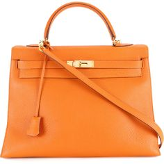 Pre-owned Hermès Vintage Kelly 35 two-way bag (134.808.210 IDR) ❤ liked on Polyvore featuring bags, brown, vintage leather bags, orange bag, orange leather bag, hermes bag and vintage bags
