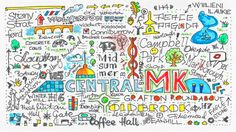 City doodle, depicting Milton Keynes, England. By Robert Rusin   www.mkfive.co.uk
