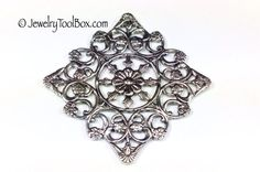 Filigree Jewelry Finding, Silver Plated Brass Stamping, 38mm, High Quality, Made in the USA, Lead Free, Lot Size 2 Pieces, #03 2014