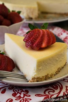 The best Classic Cheesecake recipe with a sweet graham cracker crust and incredibly rich filling with a hint of vanilla and lemon. Amazing!