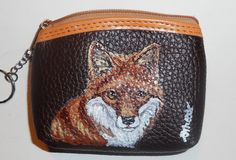 Red Fox Hand Painted Brown Leather Coin by daniellesoriginals