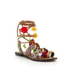 Lisabeth Beaded Lace-Up Sandal by Sam Edelman - Saddle Multi Suede