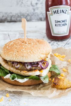 Cajun burger with chicken and pineapple - Simone's kitchen !