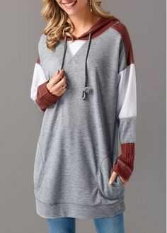 Grey Long Sleeve Patchwork Drawstring Hoodie on sale only US$33.77 now, buy cheap Grey Long Sleeve Patchwork Drawstring Hoodie at liligal.com